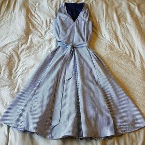 Talbots Blue & White Striped Midi Halter Dress 6